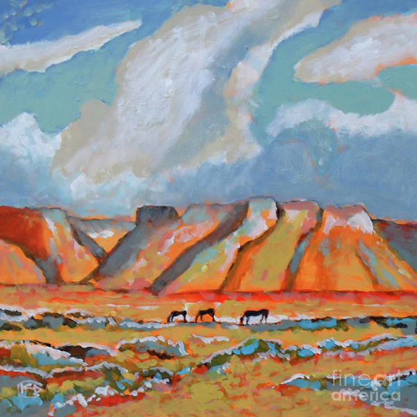 Colorful Poster featuring the painting Three Mustangs by Kip Decker