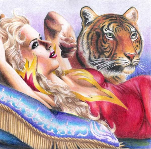 Tiger Poster featuring the drawing Tigeress by Scarlett Royal