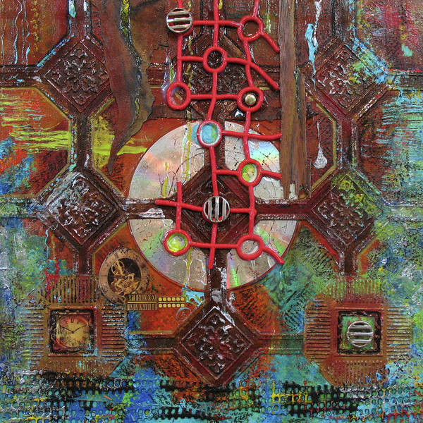 Assemblage Painting Poster featuring the painting Time Passage II by Elaine Booth-Kallweit
