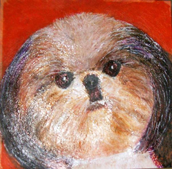 Acrylic Poster featuring the painting Toby The Cutest Doggie by Anne-Elizabeth Whiteway