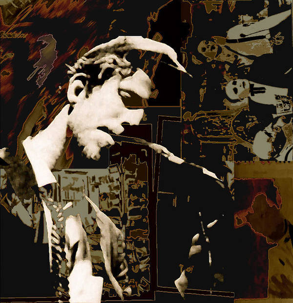 Portrats Poster featuring the painting Tom Waits by Jeff DOttavio