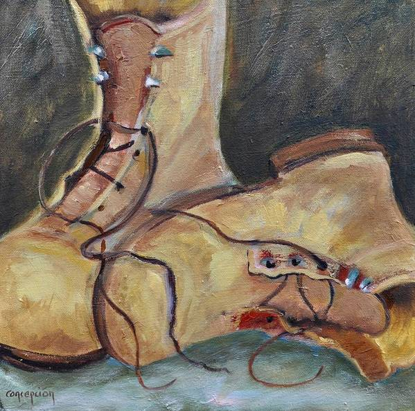 Boots Poster featuring the painting Toms Boots YO by Ginger Concepcion