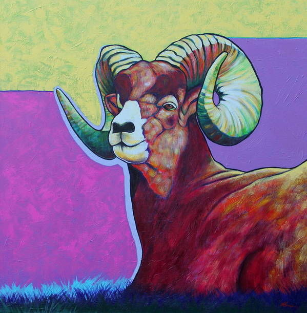 Wildlife Poster featuring the painting Top Heavy Big Horn by Joe Triano