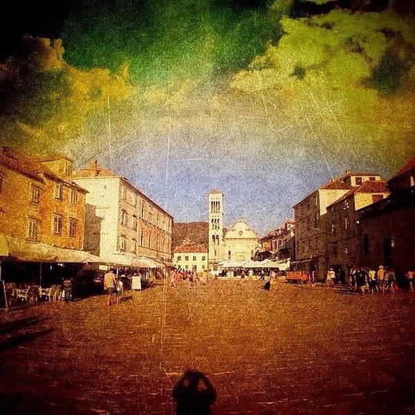 Edit Poster featuring the photograph Town Square #edit - #hvar, #croatia by Alan Khalfin