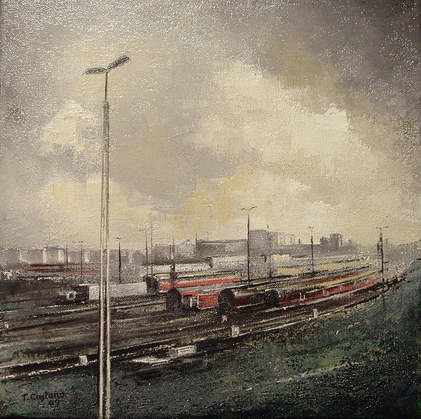 Train Poster featuring the painting Train station by Tomas Castano