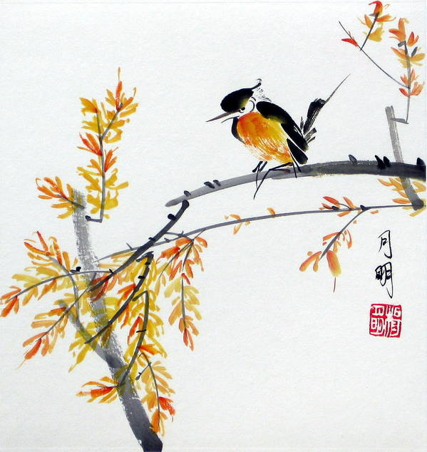 Chinese Painting Poster featuring the painting Tranquil Charm by Ming Yeung