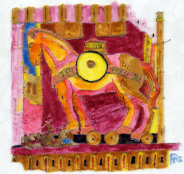 Horse Poster featuring the painting Trojan Horse by Phil Strang