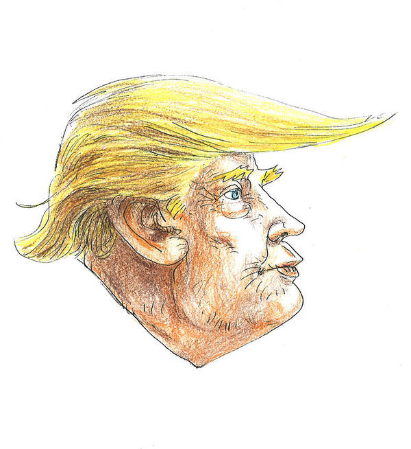 Donal J Trump Poster featuring the drawing Trump by Renzo
