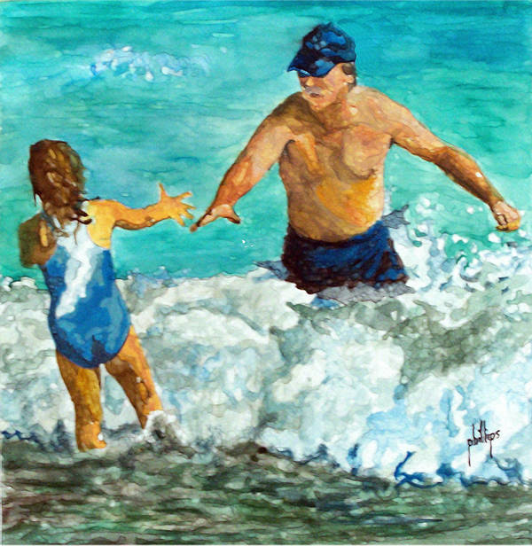 Swimmers Poster featuring the painting Trust by Jim Phillips