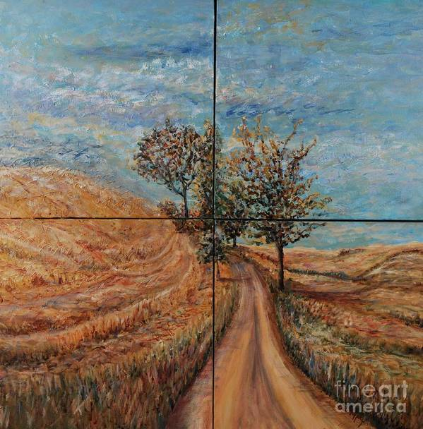 Landscape Poster featuring the painting Tuscan Journey by Nadine Rippelmeyer