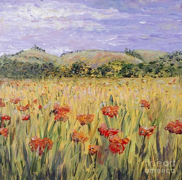 Poppies Poster featuring the painting Tuscany Poppies by Nadine Rippelmeyer