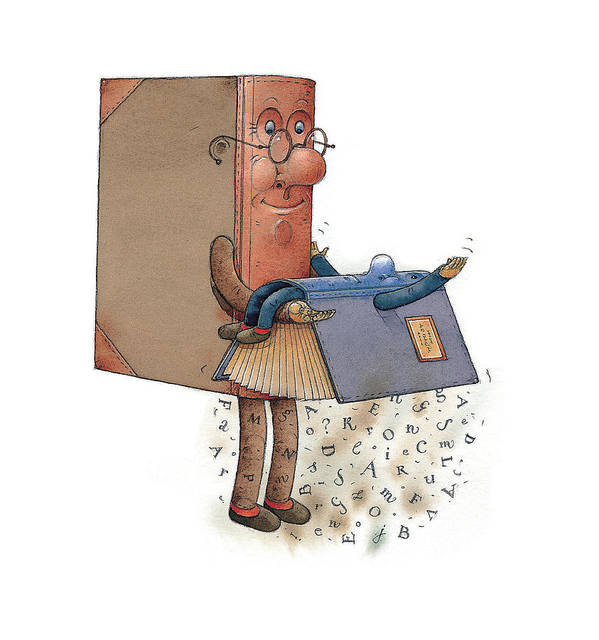 Books Letter  Type  Character  Poster featuring the painting Two Books by Kestutis Kasparavicius