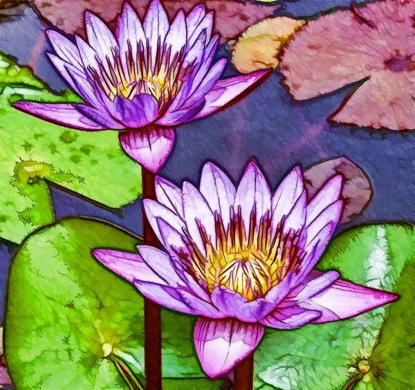 Two Purple Lotus Flower Poster By Jeelan Clark
