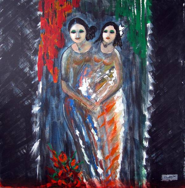 Women Poster featuring the painting Two Women by Narayanan Ramachandran