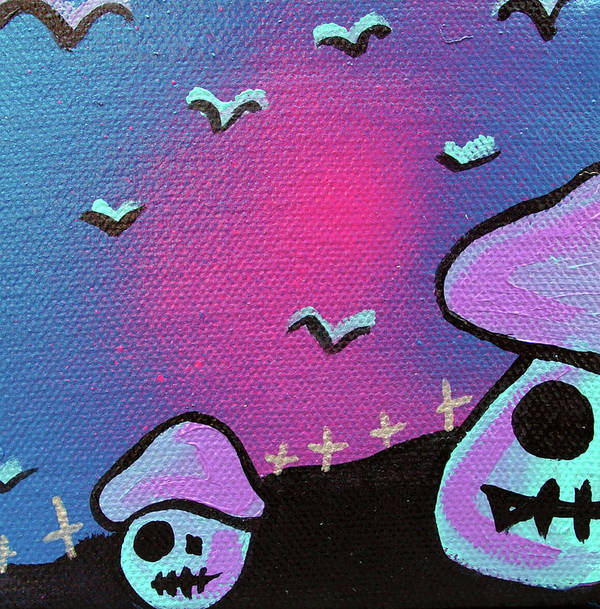 Zombie Poster featuring the mixed media Two Zombie Mushrooms by Jera Sky