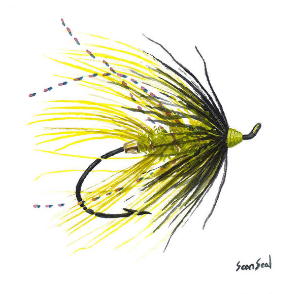 Fish Poster featuring the painting Undertaker Chartreuse by Sean Seal