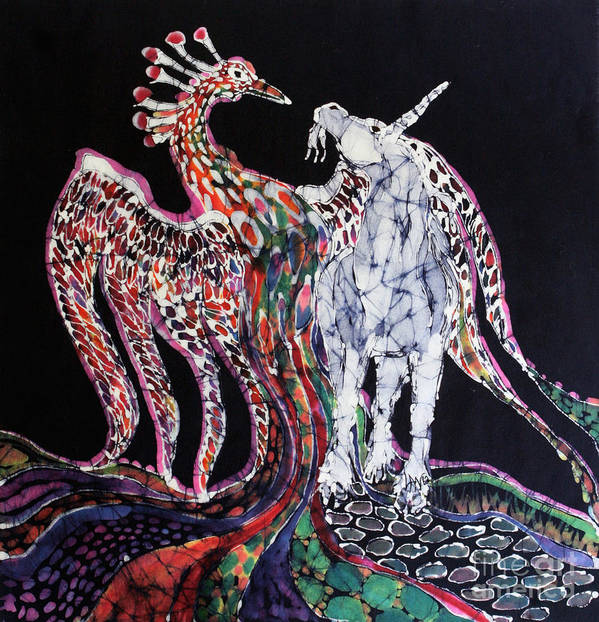 Unicorn Poster featuring the tapestry - textile Unicorn And Phoenix Merge Paths by Carol Law Conklin