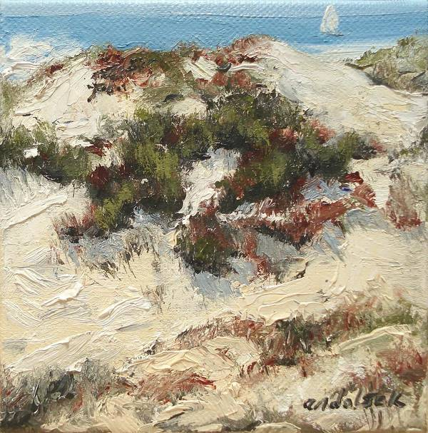 Water Poster featuring the painting Ventura Dunes I by Barbara Andolsek