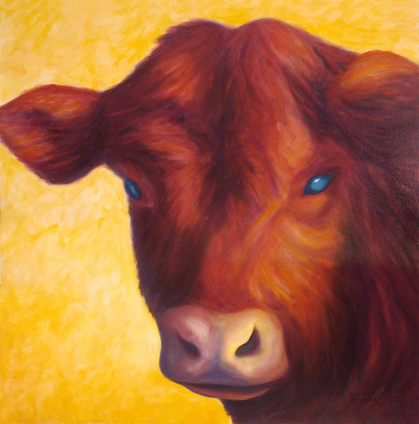 Bull Poster featuring the painting Vern by Shannon Grissom