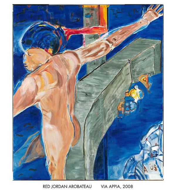Crucifixion Poster featuring the painting Via Appia by Red Jordan Arobateau
