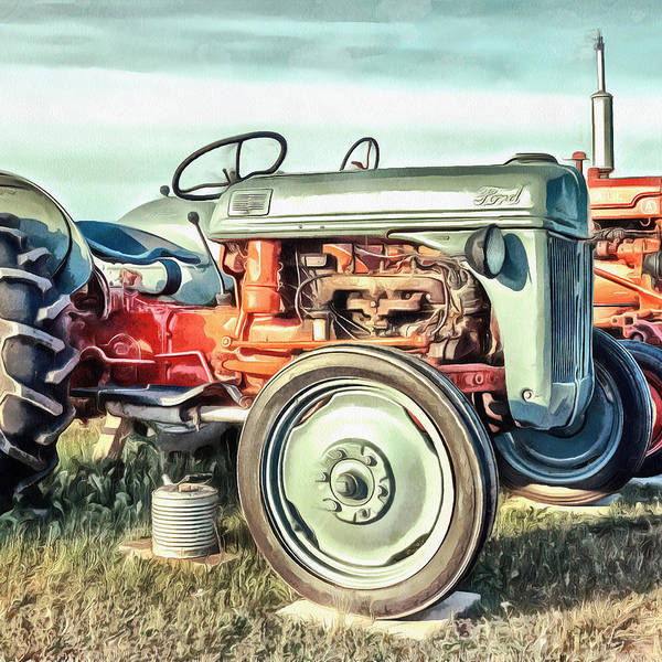Painting Poster featuring the painting Vintage Tractors PEI Square by Edward Fielding