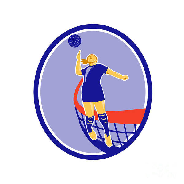 Volleyball Player Spiking Ball Oval Retro Poster By Aloysius Patrimonio