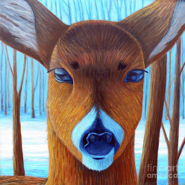 Deer Poster featuring the painting Wait For The Magic by Brian Commerford
