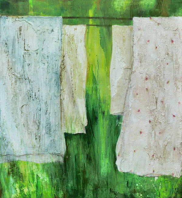 Sheets Cloth Fabric Clothesline Green Background Summer Back Yard Pastel Pink Light Blue Original Poster featuring the painting Static Lemonade by Martine Letoile