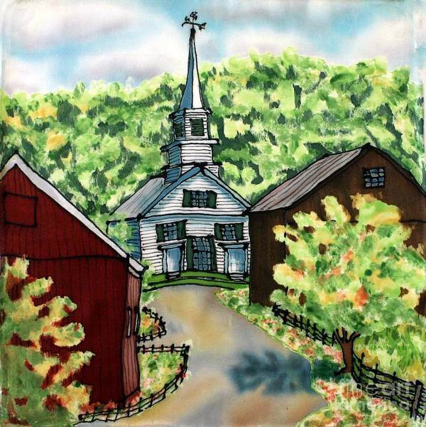 Church Poster featuring the painting Waits River Church by Linda Marcille