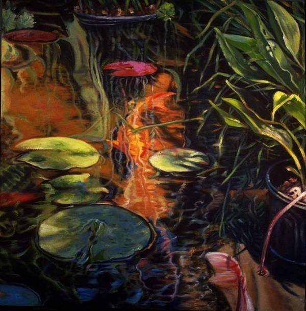 Water Garden Poster featuring the painting Water Garden Series A by Patricia Reed