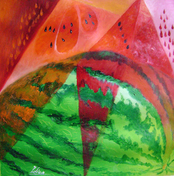 Abstract Poster featuring the painting Water Melon Patterns by Lian Zhen