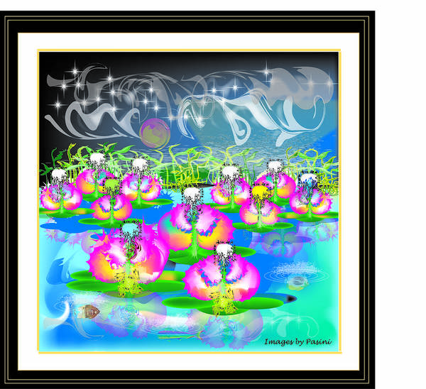 Poster featuring the digital art Waterplants 1 by George Pasini