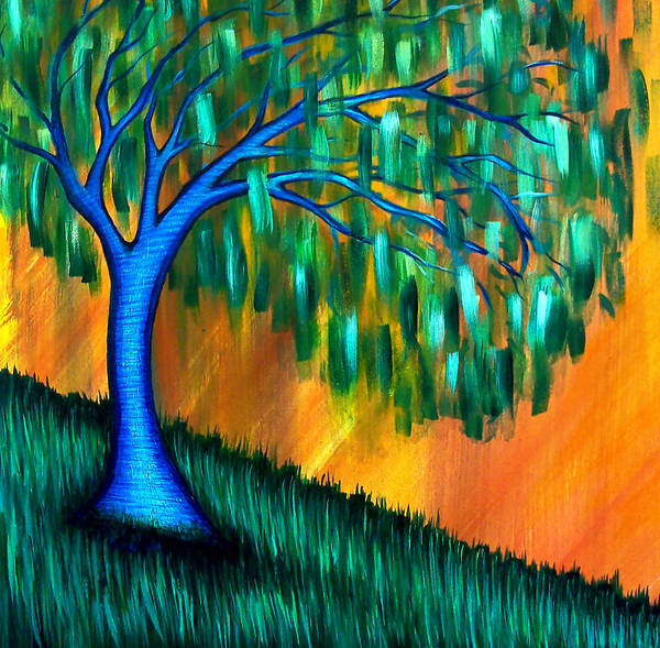 Weeping Willow Tree Poster featuring the painting Weeping Willow by Brenda Higginson