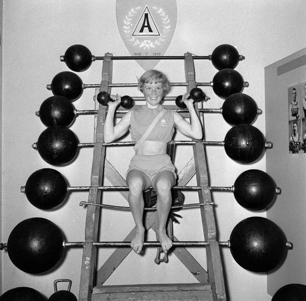 Mid Adult Poster featuring the photograph Weightlifting Woman by Evans