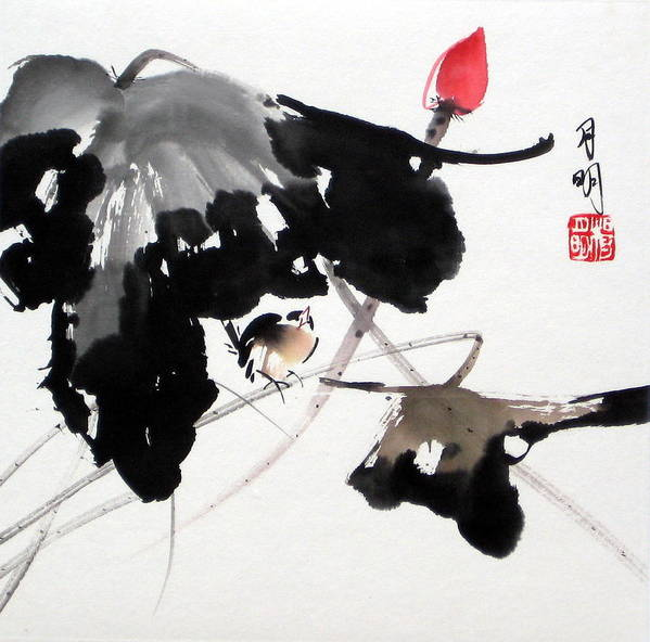 Chinese Painting Poster featuring the painting Whistling Under The Shade by Ming Yeung