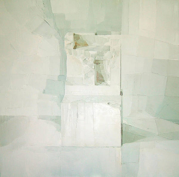 White (oil On Canvas) Cube; Geometric; Abstract; Form; Shape; Pure; Relief; 3-d; Three-dimensional; Painting; Solitude; 3 D; Three Dimensional; Abstraction; Mathematics; Damaged; Chair; Stone; Square Poster featuring the painting White by Daniel Cacouault