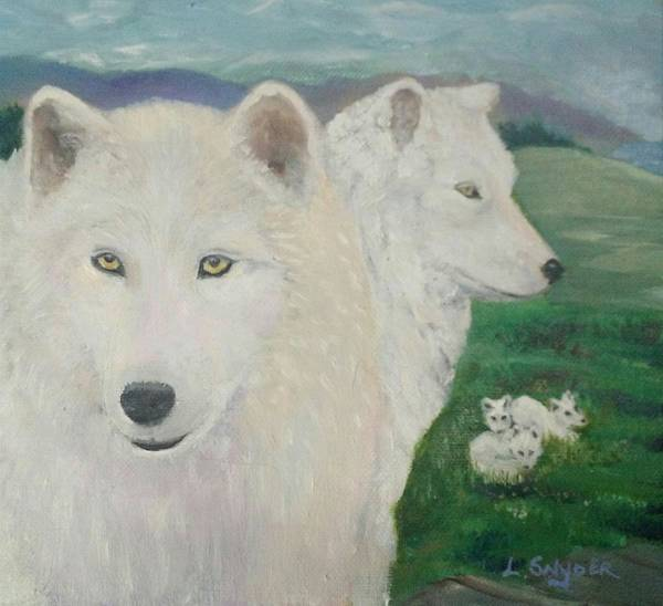 White Poster featuring the painting White Wolves Guarding Their Pups by Liz Snyder