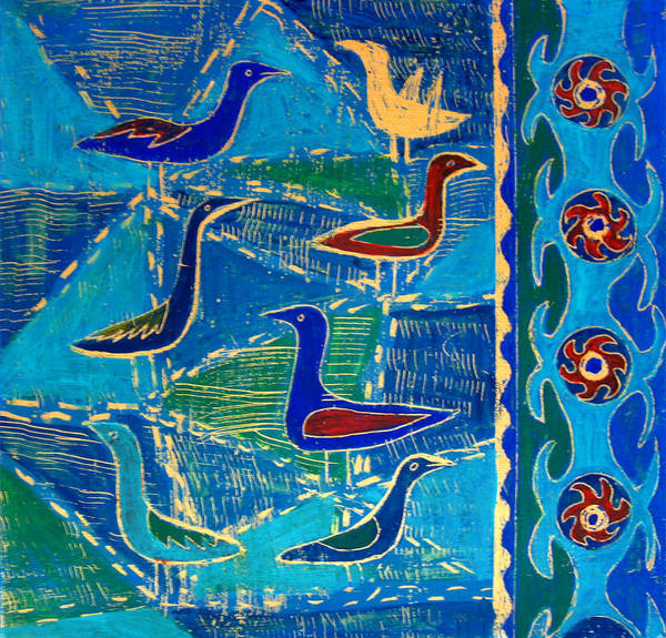 Birds Poster featuring the painting Who Got The News by Aliza Souleyeva-Alexander