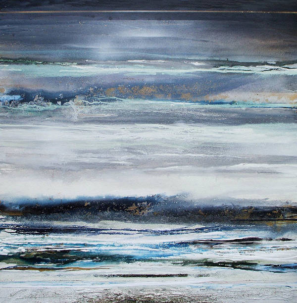 Winter Landscape Textures Blue Abstract Poster featuring the mixed media Winter Rhythms Redesdale Blue Series 2009 by Mike  Bell