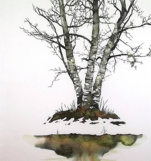 Birch Poster featuring the tapestry - textile Winters Birch by Carolyn Doe