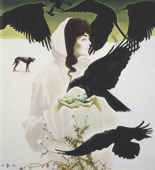 Figures Poster featuring the painting Woman And Birds by Andrej Vystropov