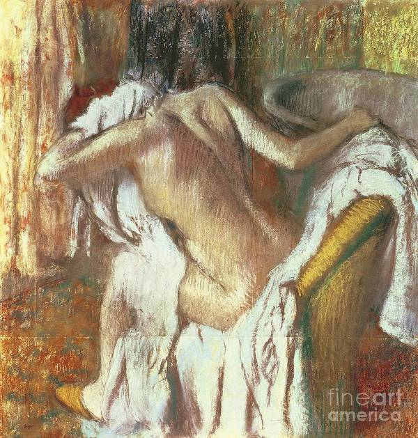 Woman Drying Herself Poster featuring the pastel Woman Drying Herself by Edgar Degas