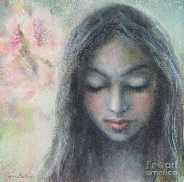 Christian Poster featuring the painting Woman Praying Meditation Painting Print by Svetlana Novikova