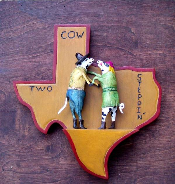 Texas Poster featuring the sculpture Woodcrafted 2 Cow Steppin' by Michael Pasko