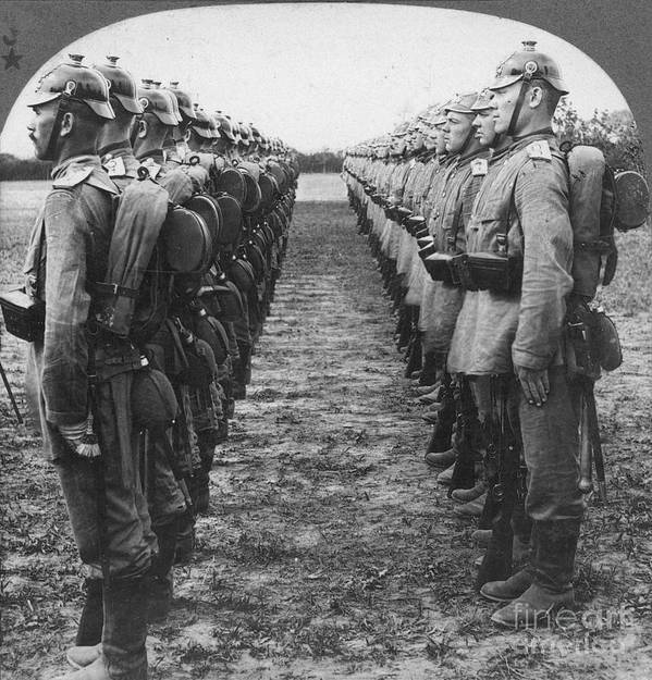 1914 Poster featuring the photograph World War I: German Troop by Granger
