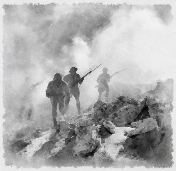 Watercolour Poster featuring the painting World War Two Battle By John Springfield by John Springfield