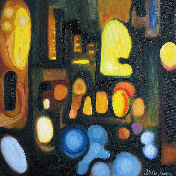 Abstract Poster featuring the painting Yellow and Blue by Patricia Arroyo
