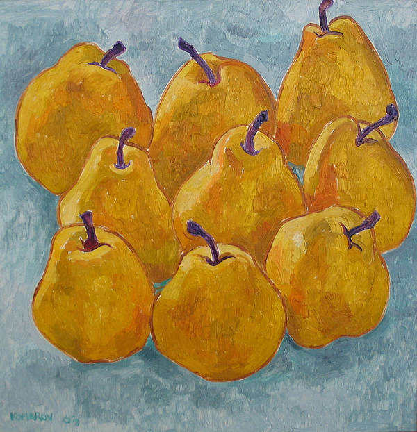 Pears Poster featuring the painting Yellow Pears by Vitali Komarov