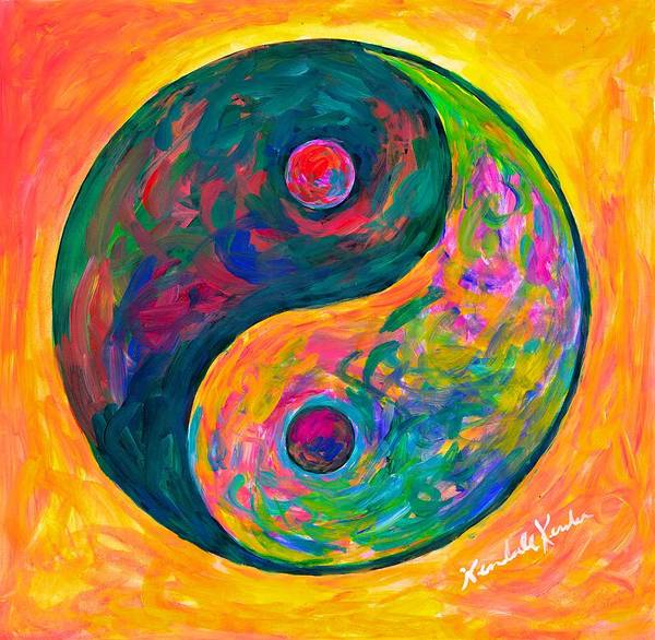Yin Yang Paintings Poster featuring the painting Yin Yang Flow by Kendall Kessler