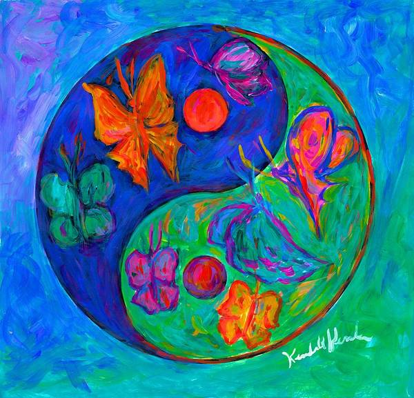 Yin Yang Paintings Poster featuring the painting Ying Yang Butterfly by Kendall Kessler